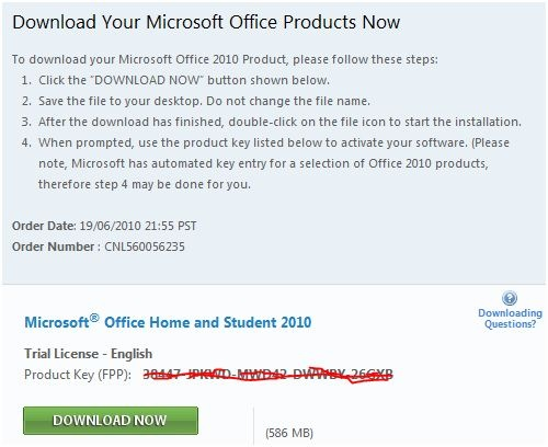 office 2010 license key