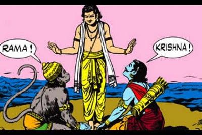 Hanuman dan Arjuna bertemu Rama/Krishna
