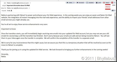 Ovi and Yahoo Mail