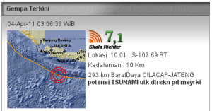 Map Gempa Cilacap