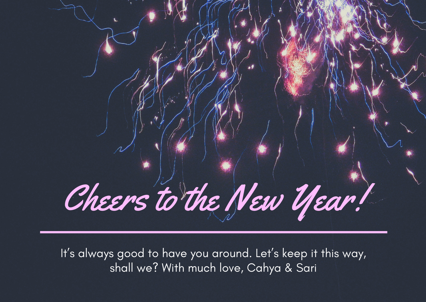 Colorful Fireworks Grid Photo New Year Card